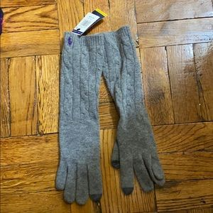 NWT Polo Ralph Lauren gray long gloves